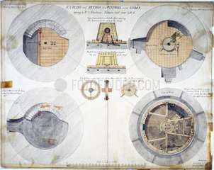 Plans and details of a windmill near Lisbon  Portugal  1840.
