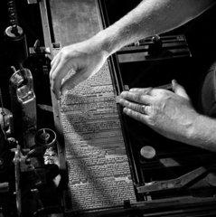 Close up of hands casting printing type  Cambridge University Press  1963.