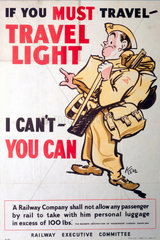 'If you must Travel Travel Light'  REC poster  1939-1945.
