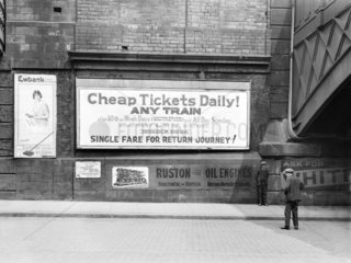 Poster advertising cheap railway tickets  c 1926.