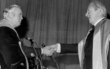 Harold Wilson and Edward Heath shake hands  Bradford University  1971.