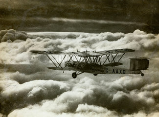 HP42 G-AAXD 'Horatius' in flight shortly after take off from Croydon  c 1930s.