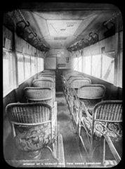 Interior of a Handley Page twin engine aeroplane  c 1920s.