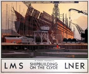 'Shipbuilding on the Clyde'  LNER/LMS poster  1923-1947.