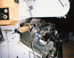 Printing rollers on a flexographic printing press  1982.