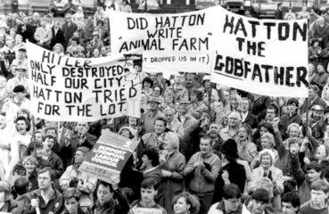 Anti-Militant meeting  Liverpool  c 1986.