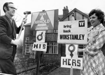 Husband and wife support different political parties  February 1974.