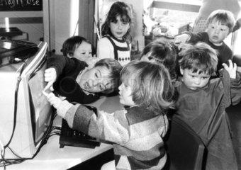 Pre-school children using a computer  February 1985.