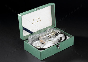 Box containing three graded cupping glasses  Japanese  1980-1990.