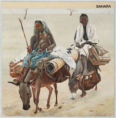 'Sahara'; family travelling on donkeys  1967.