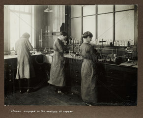 'Women engaged in the analysis of copper'  1915-1918.