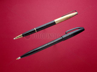 The first fibre-tip  1962  and an early ball- point  c 1945.