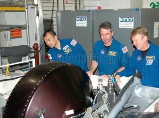 'Return to Flight' mission astronauts  Kennedy Space Centre  USA  2005.