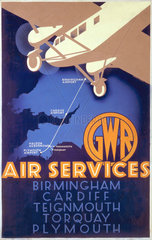 'GWR Air Services'  GWR poster  1933.