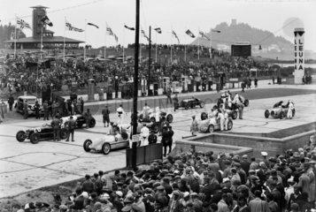 Racing cars on the starting grid  German Grand Prix  Nurburgring  1934.