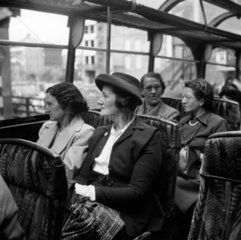 A works outing in London  1950. Employees f