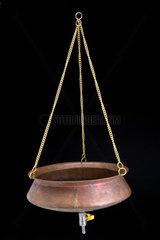 Copper bowl used in Ayurvedic Shirodhara therapy  Indian  c 2005.