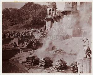 Burning the dead  Benares  c 1910.