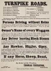 Notice relating to driving on turnpike roads  1847.