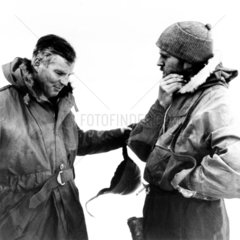Lt Cmdr Dalgleish and Sir Vivian Ernest Fuchs  British explorers  c 1957.