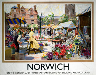 'Norwich - The Flower Market'  LNER poster  1923-1947.