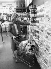 Woman shopping in a German supermarket  November 1979.