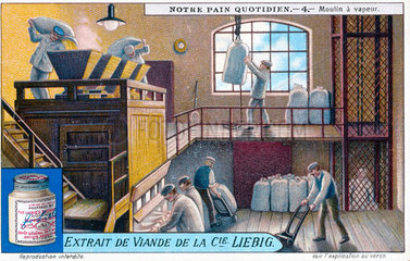 Flour going through a steam mill  Liebig trade card  early 20th century.