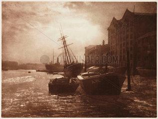 'The Thames Below London Bridge'  c 1900.