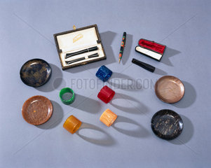 Objects made from casein plastic.