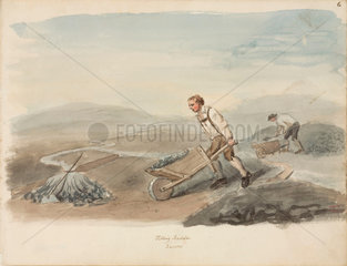 Pushing a barrow of lead ore  Northumberland  c 1805-1820.