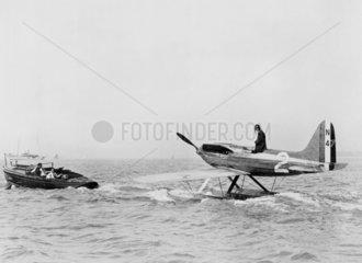 Supermarine S6 N247 under tow  c 1920s.