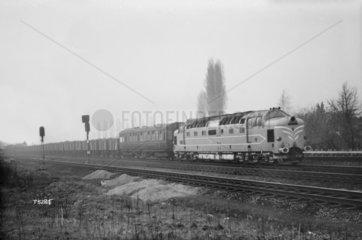 Prototype English Electric Co. 'Deltic' locomotive on test  1959.