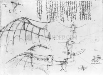 Leonardo's design for fixed-wing aircraft with ornithopter extension  15th century