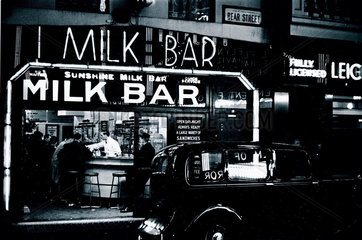 Milk bar in Bear Street  Central London  c 1936.