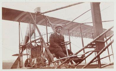 Samuel Cody in a biplane  c 1910.