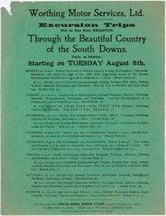 Notice advertising bus excursion trips  1909-1910.