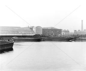Warehouses at Poplar Dock  London  c 1898.