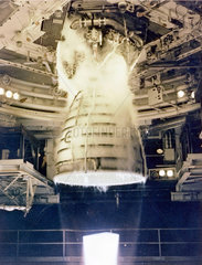 Space Shuttle Main Engine (SSME) test firing  USA  1981.