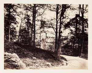 View through woods to a factory  c 1855.