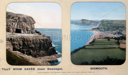 Tilly Whim Caves  Dorset  and Sidmouth  Devon  1910s.