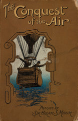 Two men in a hot-air balloon basket; book cover  1902.