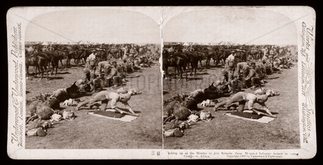 'Sacking up at the Modder to join Roberts  South Africa'  1900.