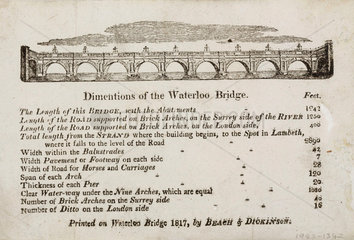 'Dimensions of the Waterloo Bridge'  London  1817.