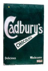 Sign advertising 'Cadbury's Chocolate'  c 1920.