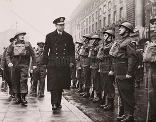 Crown Prince of Greece inspects the Home Guard of Honour  29 Jan 1942.