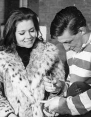 Diana Rigg with a rugby player  December 1965.