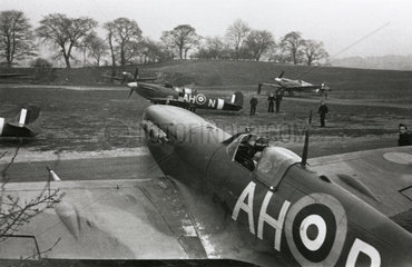 Spitfires on the ground preparing to go into battle  1940.