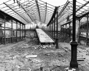Demolition work on the site of platforms 3 to 6  Euston Station  4 April 1963.