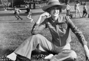 Spotty stripey trouser suit  May 1972.