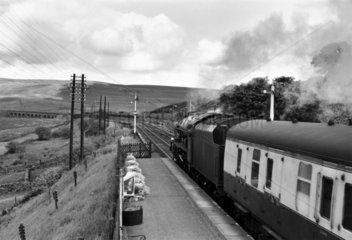 'Sherwood Forester' steam locomotive  Garsdale Station  c 1950s.